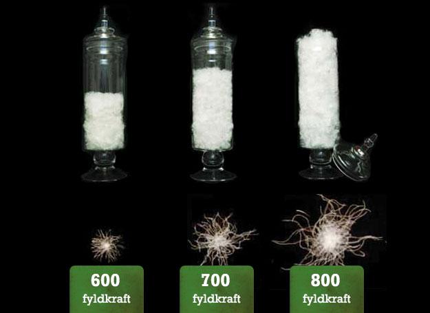 Sammenligning af dunkvaliteter, dunkraft/fill power