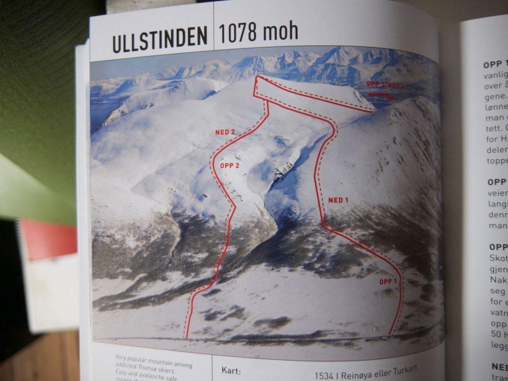 Som her, i beskrivelsen af turen på Ullstinden, vises et billede af ruten op og mulige nedkørsler. Der er desuden beskrevet med tekst, hvordan disse ture går, hvad man skal være særligt opmærksom på, og om der evt. er nogle kritiske punkter ift. laviner.