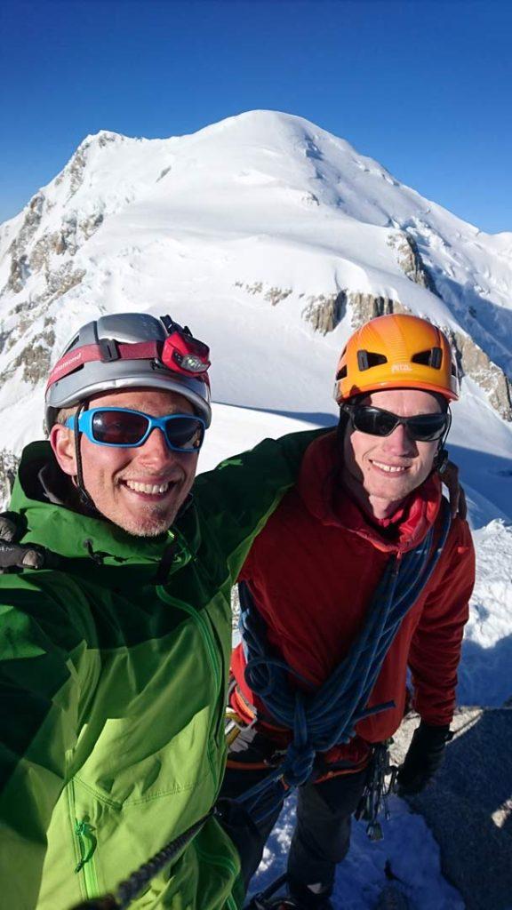 Toppen af Arête Kuffner på Mont Maudit. Foto: Mathias Pape.