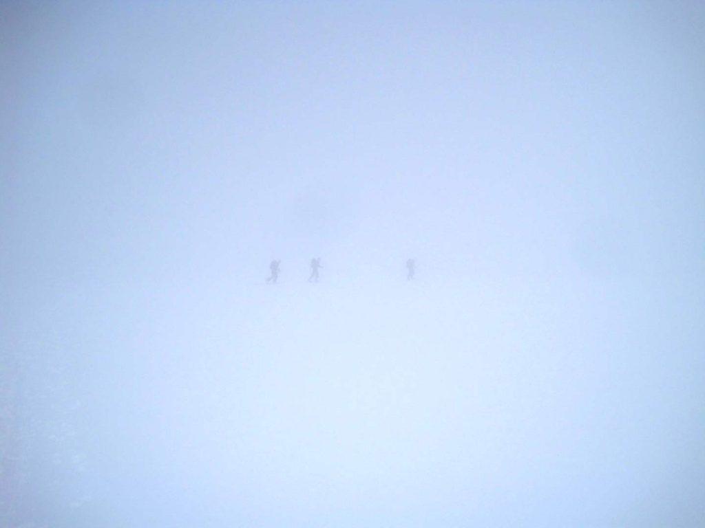 Tæt på whiteout på vej mod toppen af Glittertind, tidligere samme dag. Foto: Rasmus B. Munk.