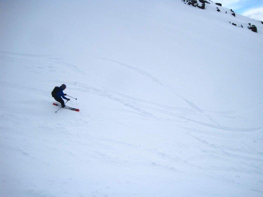 Der havde været en større gruppe forbi dagen før, så renden vat lidt opkørt. men sneen var fin. Rasmus B. Munk