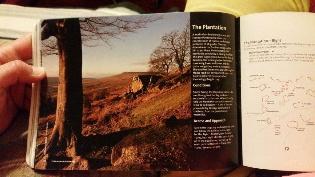 Stanage Plantation i en guidebog for området. Foto: Michelle KT.