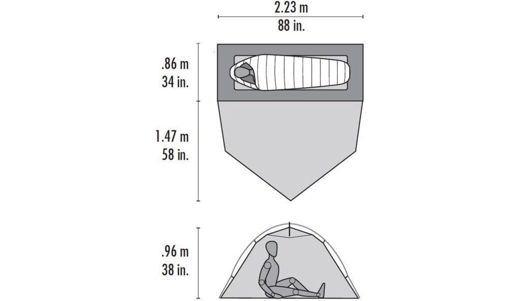 Grundplan og tværsnit af MSR Hubba Tour 1. Foto: MSR