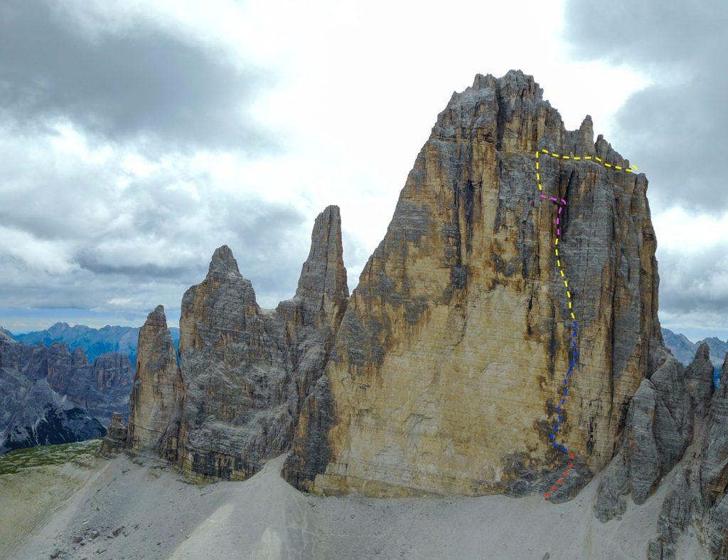Comici-ruten på nordvæggen af Cima Grande di Lavaredo. Foto: Kenneth Jensen.